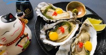 Hàu mỹ 2 món sashimi trứng & phủ phô mai đút lò